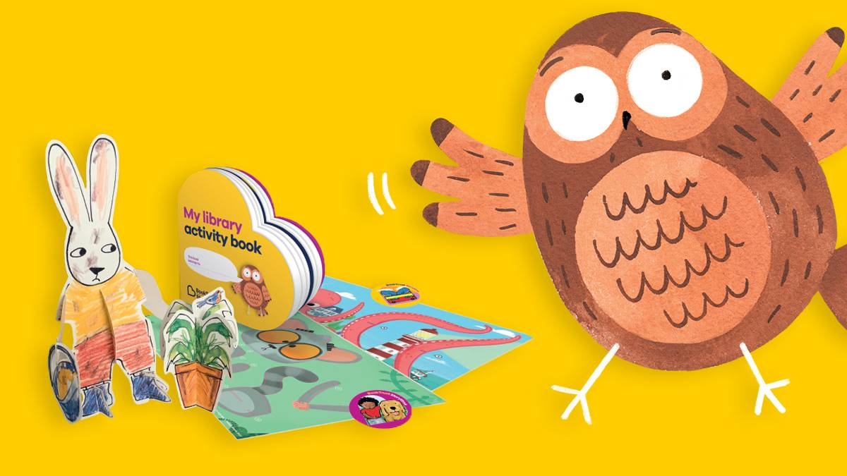 The BookTrust Storytime owl and some of the BookTrust Storytime resources we're giving to libraries