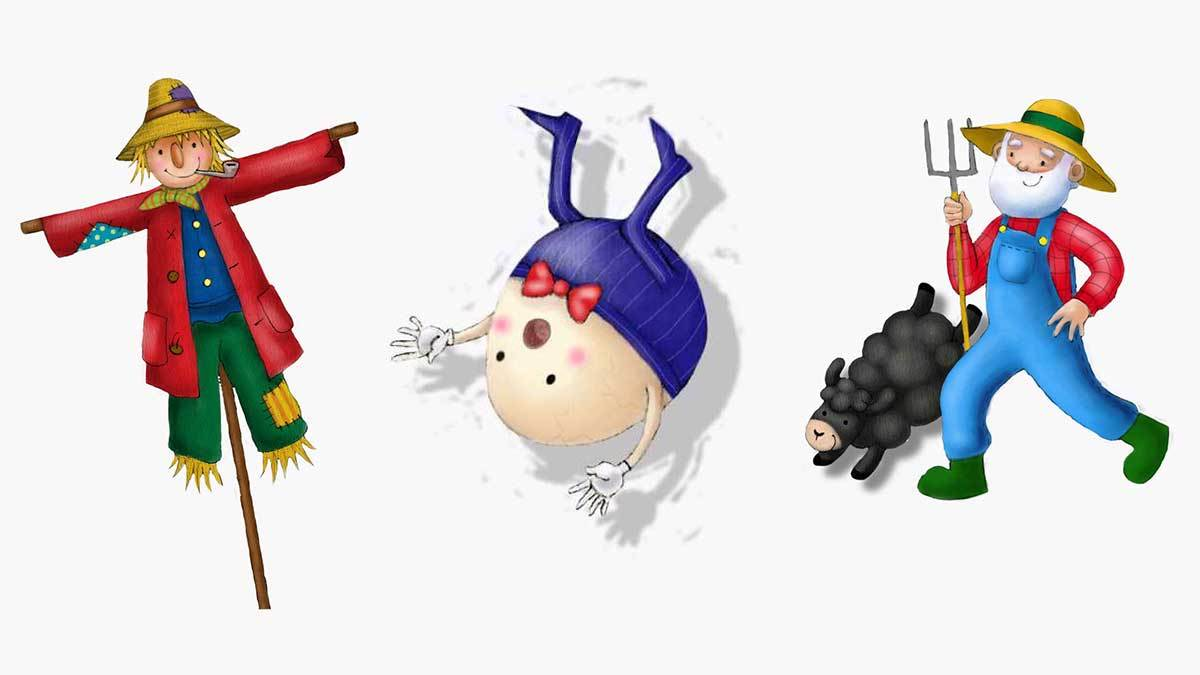 Nursery rhyme characters for the Big Welsh Rhyme Time