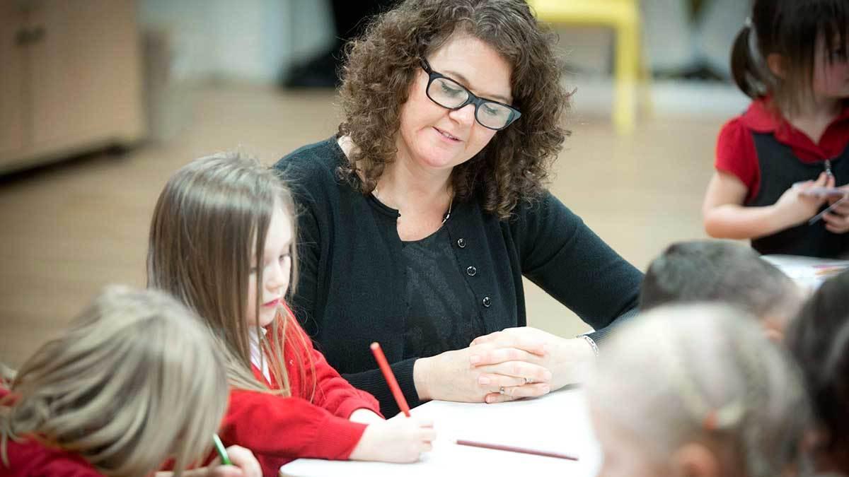 Primary school children with a teacher
