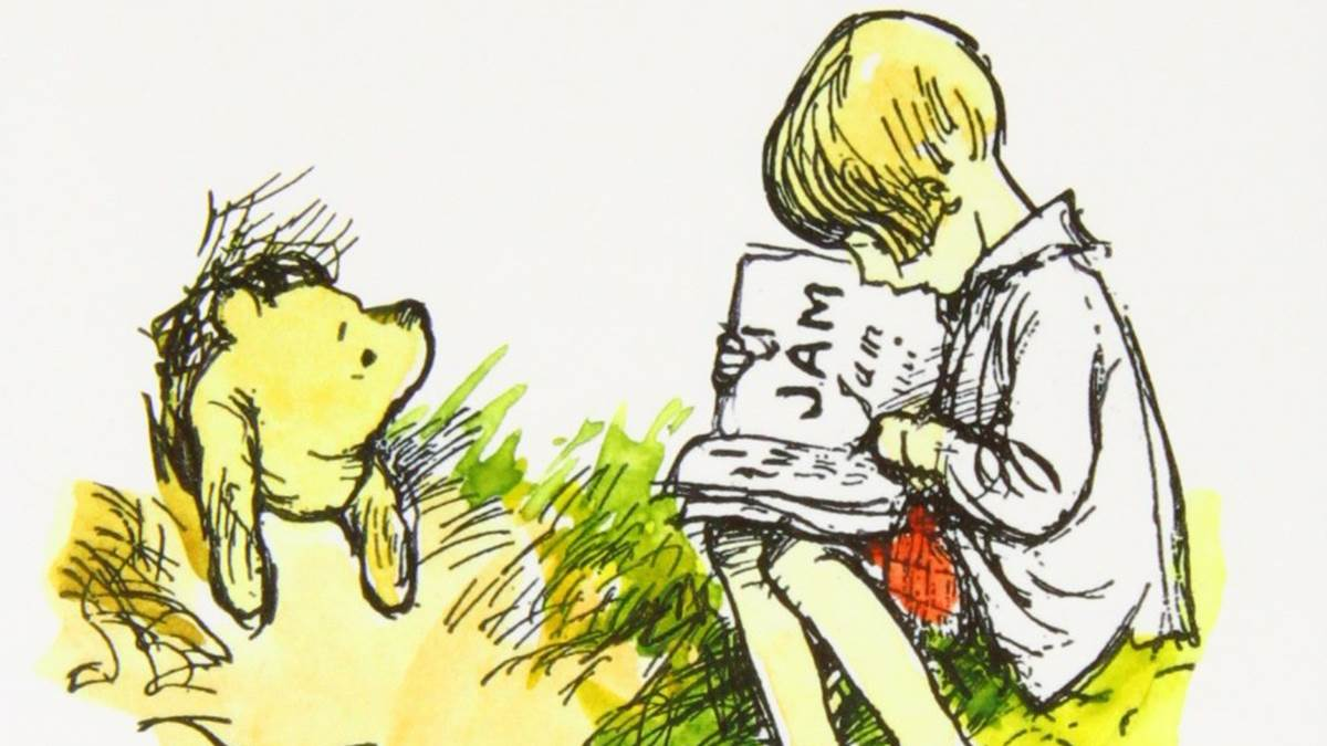 An illustration of Winnie-the-Pooh and Christopher Robin