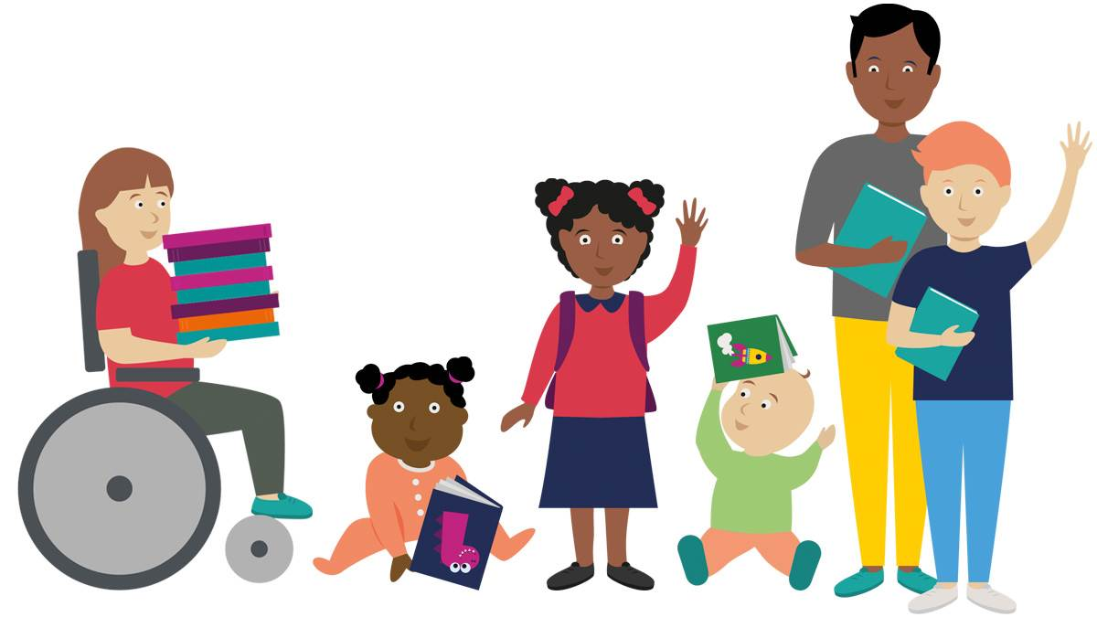 An illustration of a group of children and a teacher holding books, smiling and waving